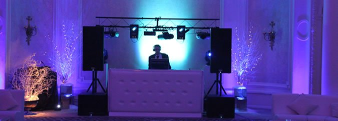 Deluxe Wedding Disco Equipment Hire - Blue Uplighters at a Wedding.