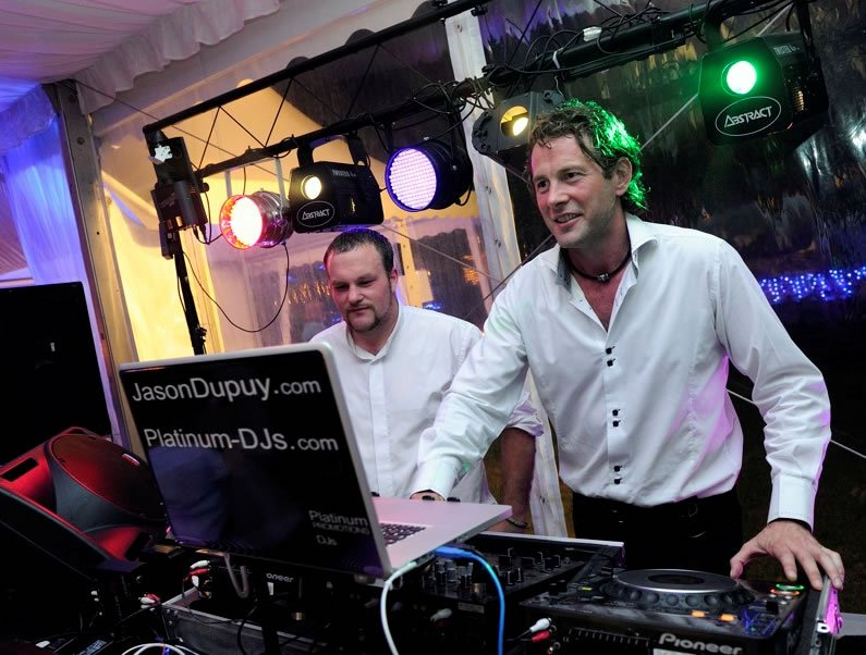 London DJ Jason Dupuy plays at a Wedding Disco near Nantes, France