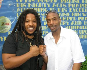 DJ Wayne Smooth pictured with Stephen Marley at a London Celebrity Event.
