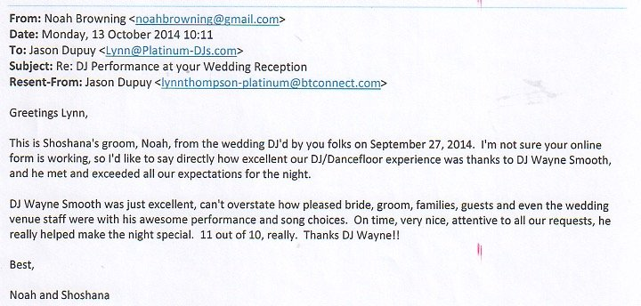 Wedding with DJ Wayne Smooth