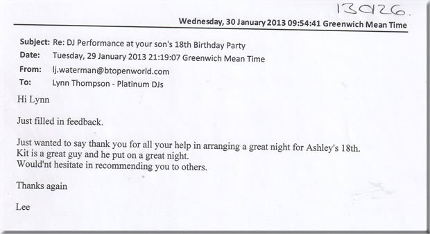 18th Birthday Party Kent DJ & Disco - DJ Kit Leonard 130126 review 2