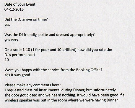 Review for DJ Murdoch Wilson for a Christmas Party in London