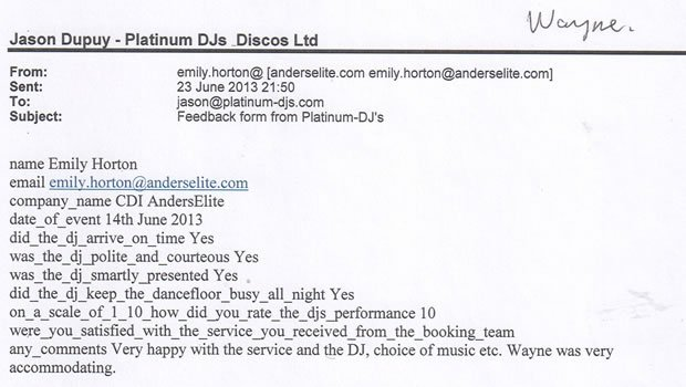 Corporate Event DJ Disco Review - CDI Anderslite London - DJ Wayne Smooth