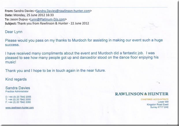 Corporate London DJ & Disco - DJ Murdoch Wilson 120622