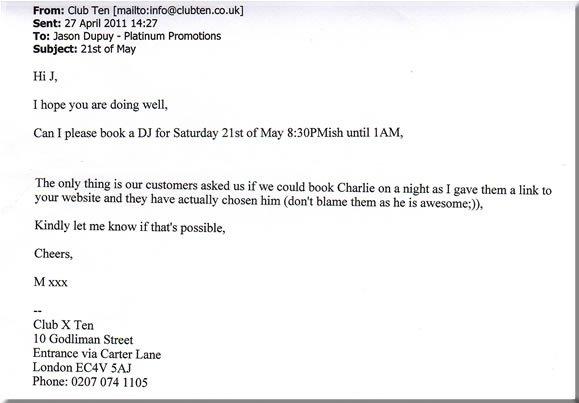 DJ Charlie Amestoy, Club Ten, 110521
