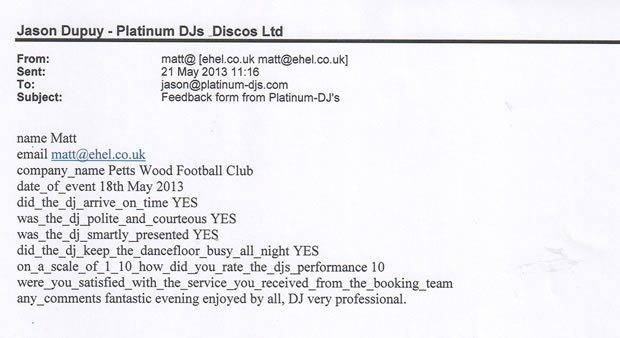 DJ Disco Review - Football Club Awards Disco - Petts Wood Kent - DJ Michael Davis