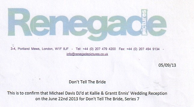 DJ Michael Davis for Don't tell the Bride