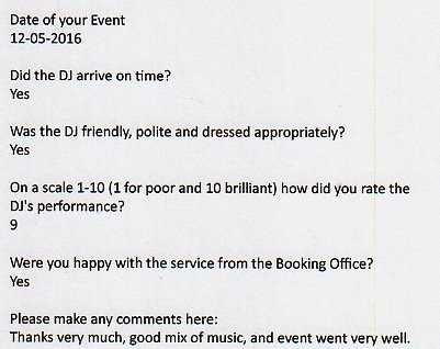 For a Corporate event in London with DJ Murdoch