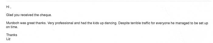 Review for DJ Murdoch's performance at a prom in Kent.