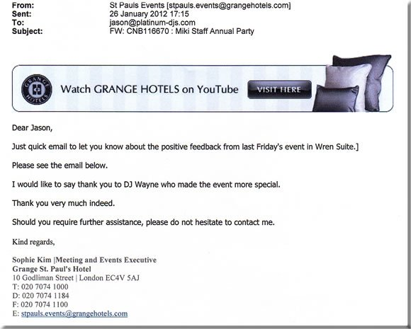 DJ Wayne Smooth, Grange Hotel, Corporate Event, London, 120126