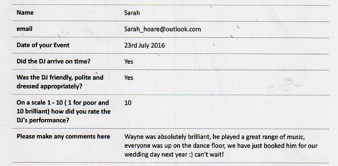 Review for DJ Wayne Smooth performing at an engagement party.