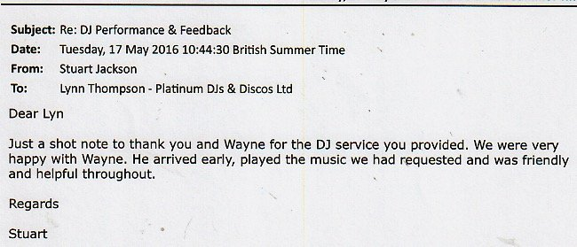 DJ Wayne Smooth Review for performing at a Wedding Anniversary.