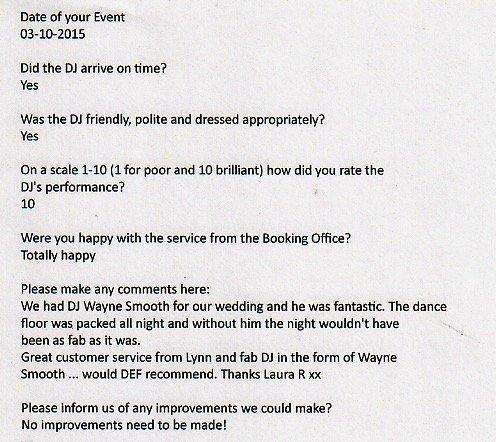 Wedding review for DJ Wayne Smooth