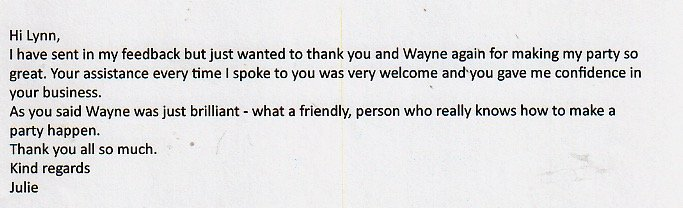Outstanding review for DJ Wayne and the Booking Office