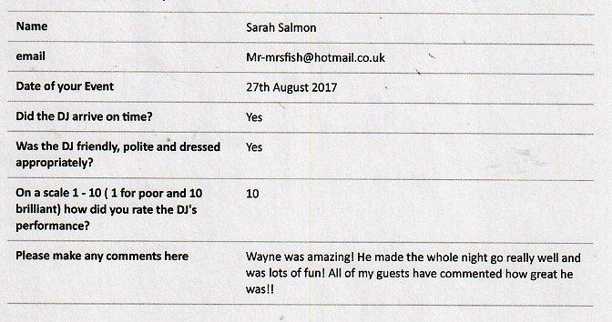 DJ Wayne DJ feedback for performance at a Wedding.