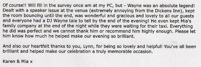 Review for DJ Wayne at a Wedding.