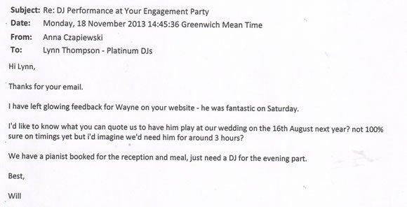 Engagement Party DJ and Disco Kent - DJ Wayne Smooth 131118