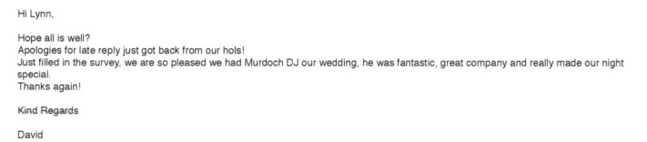 DJ Murdoch received a fantastic review for his performance.