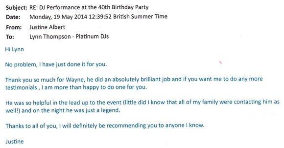 Party DJ Disco Hire London for 40 Birthday Party - DJ Wayne Smooth
