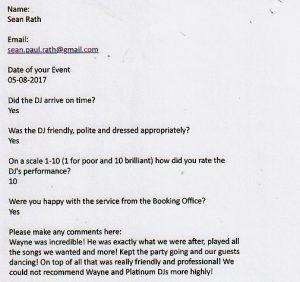 Platinum DJs Review for Party and Wedding DJ Wayne