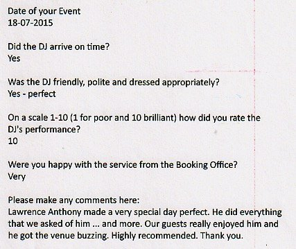 Review for DJ Lawrence Anthony August