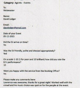 DJ Lawrence Anthony review for a Christmas Party in London
