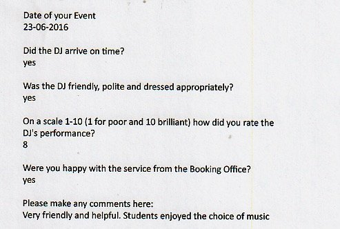 Good new review received for DJ Murdoch at a prom.