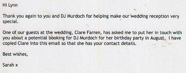 DJ Murdoch received a good review for his performance at a Wedding in London.