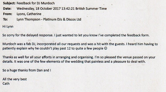 DJ Murdoch review for his performance at a Wedding in Kent.