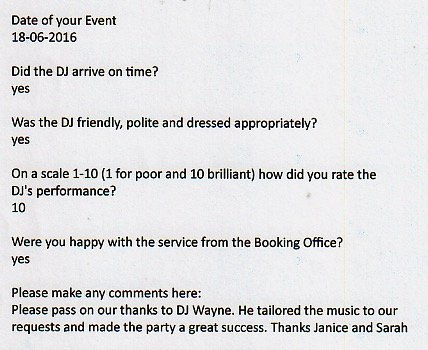 Review for DJ Wayne Smooth performing at a 40th Birthday Party