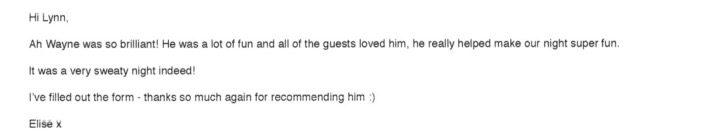 London Party DJ Wayne received a great review.