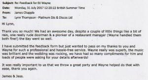 Wedding review for DJ Wayne Smooth's performance.