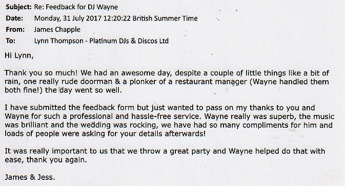 Wedding review for DJ Wayne Smooth's performance.