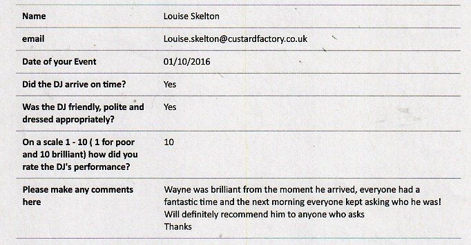DJ Wayne performed at a Wedding in Kent.