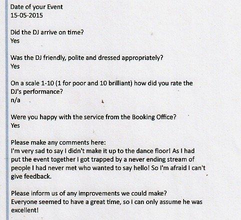 Testimonial for DJ Wayne Smooth
