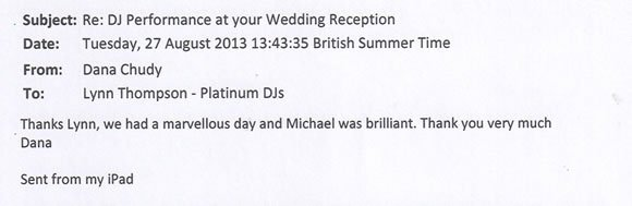 Wedding DJ and Disco Hire London - DJ Michael Davis 130827