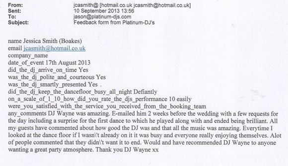 Wedding DJ and Disco Hire London - DJ Wayne Smooth 130817