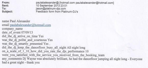 Wedding DJ and Disco Hire London - DJ Wayne Smooth 130907