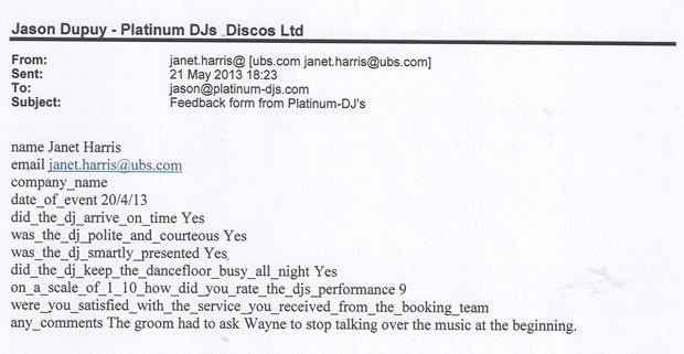 Wedding DJ and Disco London Richmond Review - DJ Wayne Smooth