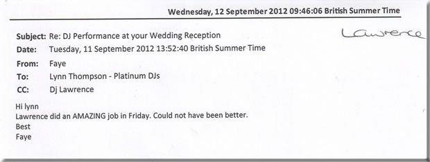 Wedding London DJ & Disco - DJ Lawrence Anthony 121110