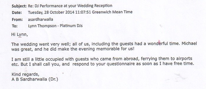 Wedding Reception DJ Michael Davis feedback