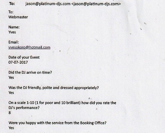 DJ Wayne's review for a Wedding.