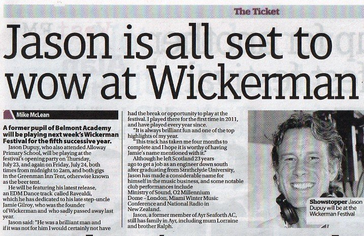 DJ Jason Dupuy's newspaper article for opening the Wickerman Festival