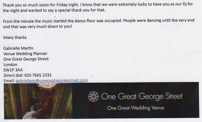 Review for One Great George Street Staff Party in London.