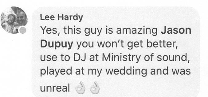 Kent DJ Jason Dupuy played at a Wedding in Kent.