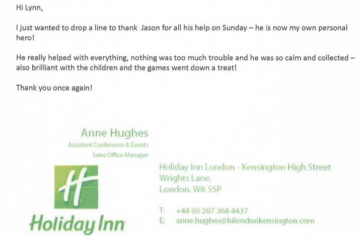 Great review for DJ Jason Dupuy from Holiday Inn manager