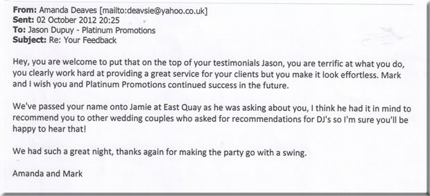 Wedding Disco DJ - Whitstable Kent 2nd review - DJ Jason Dupuy 120929