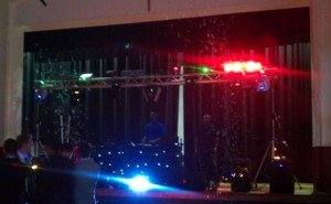 DJ Javier Lobez and his extensive Disco Sound and Lighitng Set Up in London