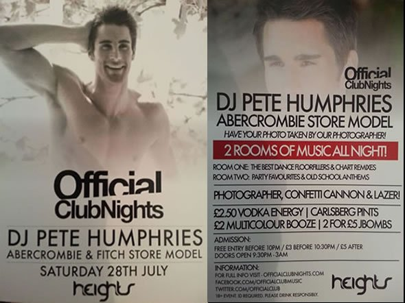 Professional DJ and Model Pete Humphries plays at Heights