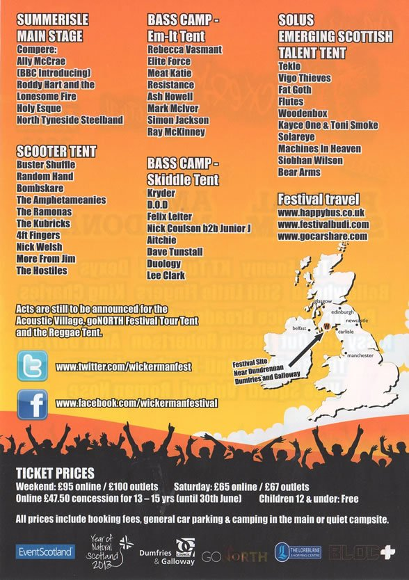Wickerman Festival 2013 Flyer Rear